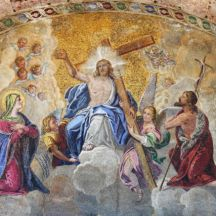 Mosaic in St. Mark Basilica depicting the Ascension of Jesus Christ. Venice, Italy